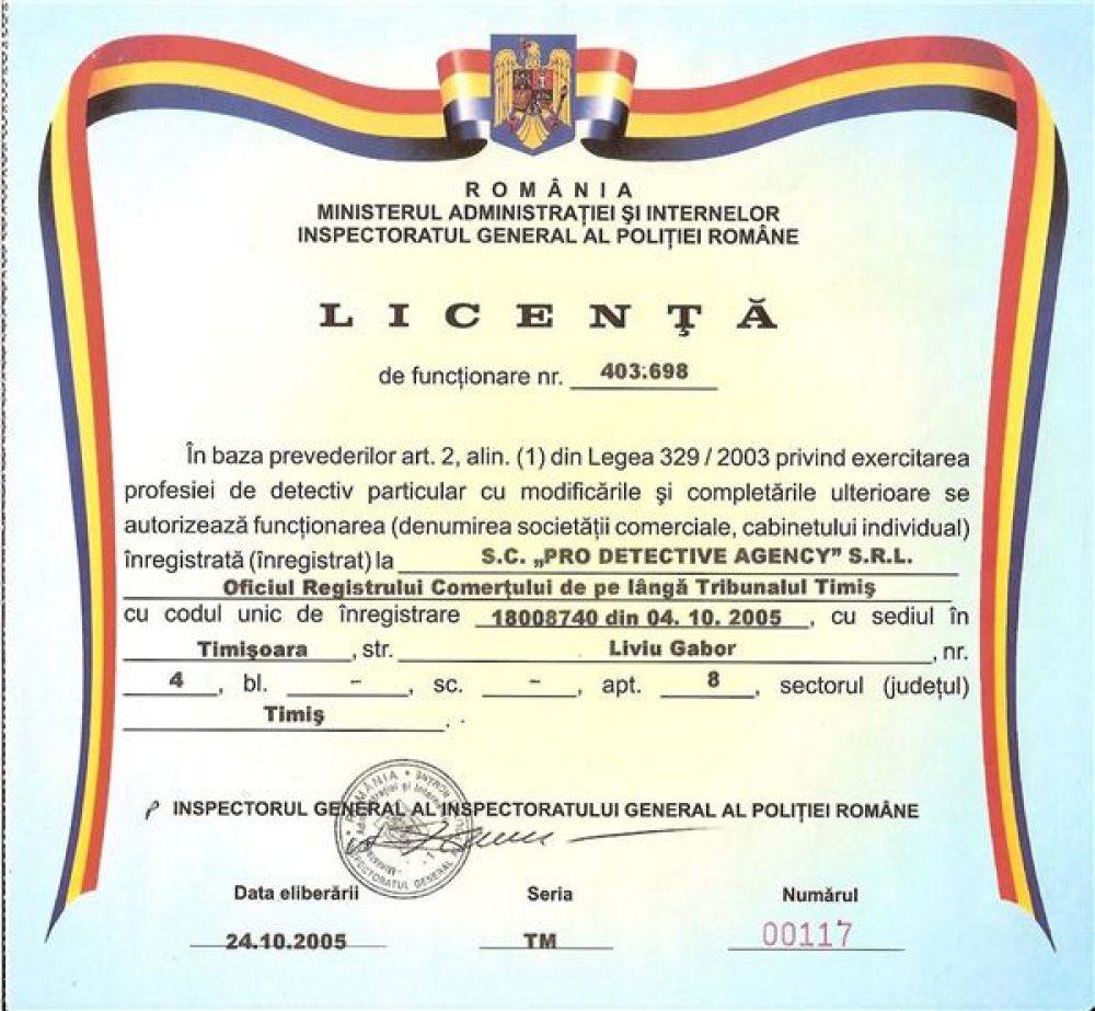 Detectiv particular autorizat Mircea Banescu Timisoara tel.0722723100